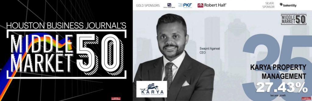 Karya Property Management Ranks 35th in HBJ'S Middle Market 50 Awards!